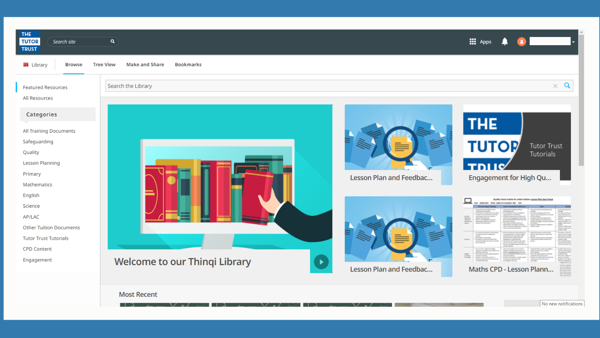 New online resource 'Thinqi Library' available to tutors – 6th October 2020